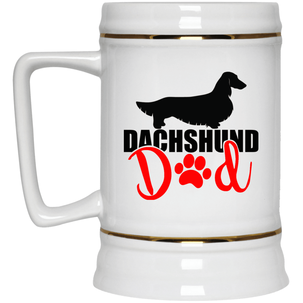 Dachshund Dad Longhair (Red) 22 oz. Ceramic Beer Stein