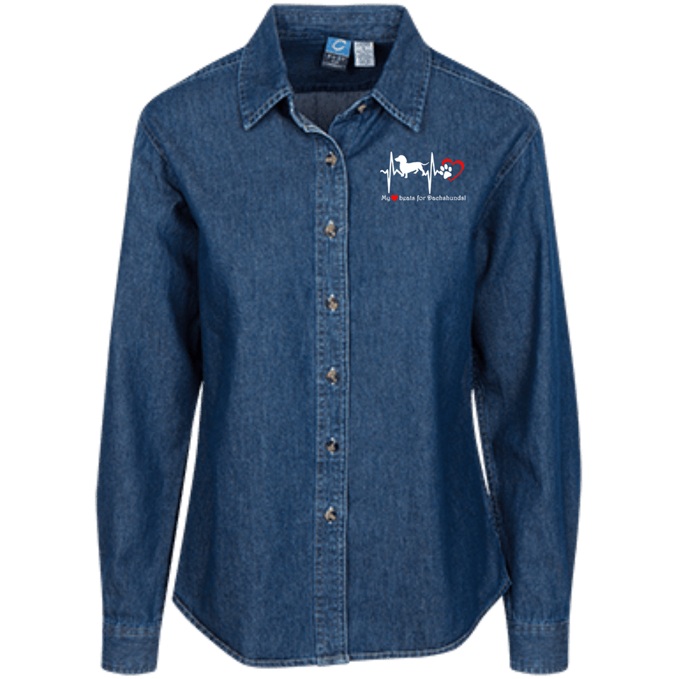 My Heart Beats For Dachshunds Women's LS Denim Shirt - Embroidered