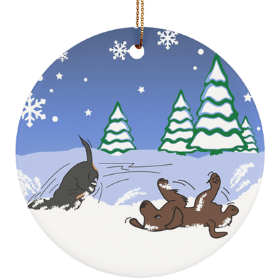 Wiener Wonderland Playing in Snow Ceramic Circle Ornament