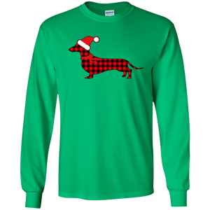 Buffalo Red Plaid Santa Doxie Unisex LS Ultra Cotton T-Shirt