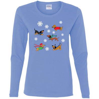 Dachshunds in Snowflakes Ladies' Cotton LS T-Shirt