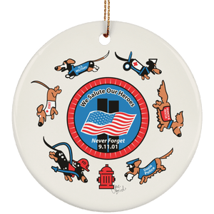 911 Hero Dog Ceramic Circle Ornament