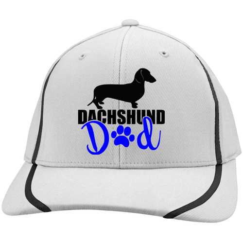 Dachshund Dad Shorthair (Blue) Embroidered Flexfit Colorblock Cap