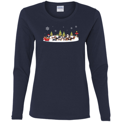 Santa's Reindachs Ladies' Cotton LS T-Shirt