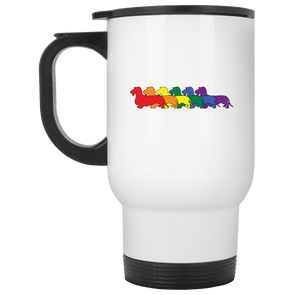 Rainbow Pride Wirehair Dachshunds 14 oz. Stainless Steel Travel Mug