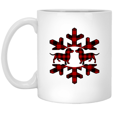 Plaid Snowflake Dachshshunds 11 oz. Ceramic Mug