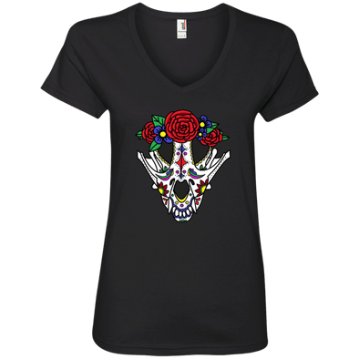 Canine Sugar Skull Ladies' V-Neck T-Shirt