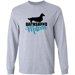 Dachshund Mom Longhair (Teal) Unisex LS Ultra Cotton T-Shirt