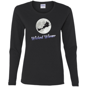 Flying Wicked Wiener (Purple lettering) Ladies' Cotton LS T-Shirt