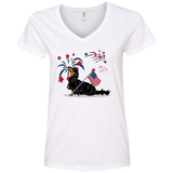 Patriotic Longhair B&T Ladies' V-Neck T-Shirt