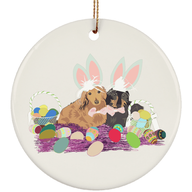 Easter Dachshunds Ceramic Circle Ornament