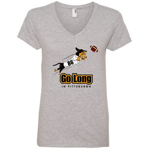 Go Long in Pittsburgh Ladies' V-Neck T-Shirt