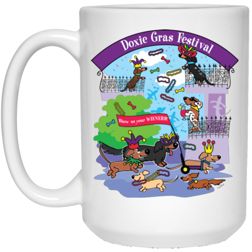 Doxie Gras 15 oz. White Ceramic Mug