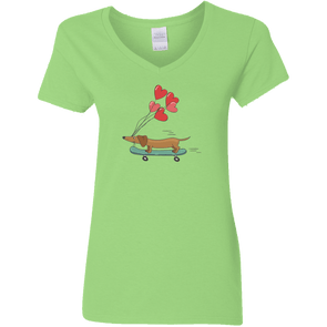 Skateboarding Doxie Ladies' V-Neck T-Shirt