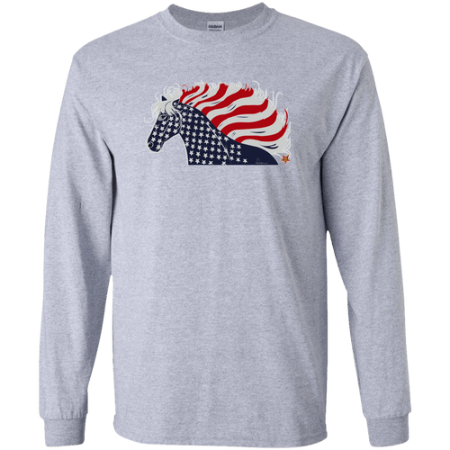 USA Flag Patriotic Horse LS Ultra Cotton T-Shirt
