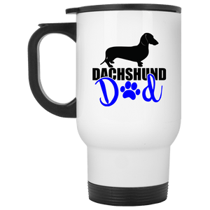Dachshund Dad Shorthair (Blue) 14 oz. Stainless Steel Travel Mug