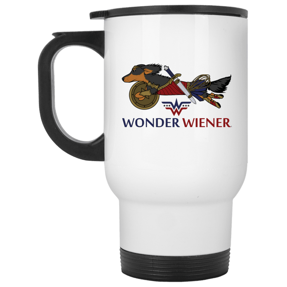 Wonder Wiener White Stainless Steel 14 oz. Travel Mug