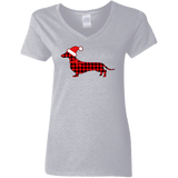 Buffalo Red Plaid Santa Doxie Ladies' 5.3 oz. V-Neck T-Shirt
