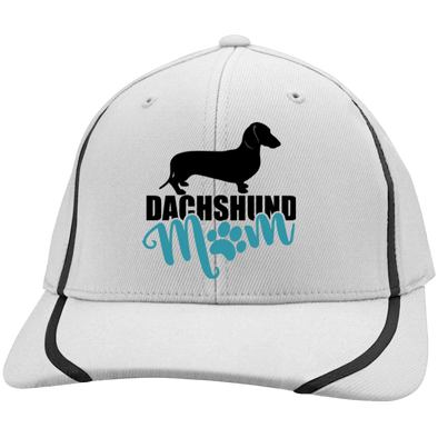 Dachshund Mom Shorthair (Teal) Embroidered Sport-Tek Flexfit Colorblock Cap