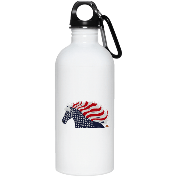 USA Flag Patriotic Horse 20 oz. Stainless Steel Water Bottle