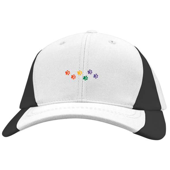 Rainbow Paws Embroidered Sport-Tek Mid-Profile Colorblock Hat