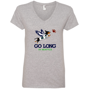 Go Long in Seattle Ladies' V-Neck T-Shirt