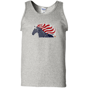 USA Flag Patriotic Horse Unisex 100% Cotton Tank Top