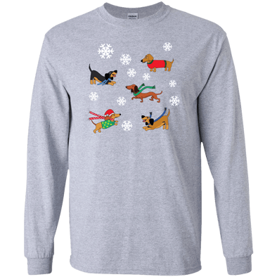 Dachshunds in Snowflakes LS Ultra Cotton T-Shirt