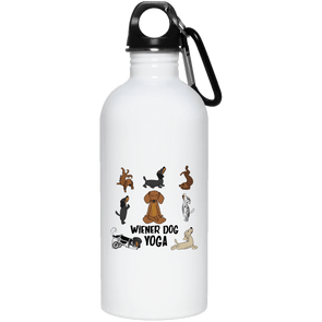 Wiener Dog Yoga 20 oz. Stainless Steel Water Bottle