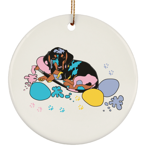 Easter Splash Ceramic Circle Ornament