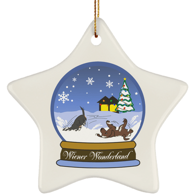 Snow Globe Christmas Ceramic Star Ornament
