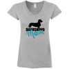 Dachshund Mom Wirehair (Teal) Ladies' Fitted Softstyle V-Neck T-Shirt
