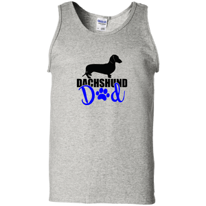 Dachshund Dad Shorthair (Blue) 100% Cotton Tank Top