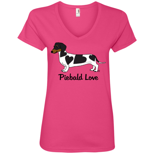 Piebald Love (Black) Ladies' 100% Ringspun V-Neck T-Shirt