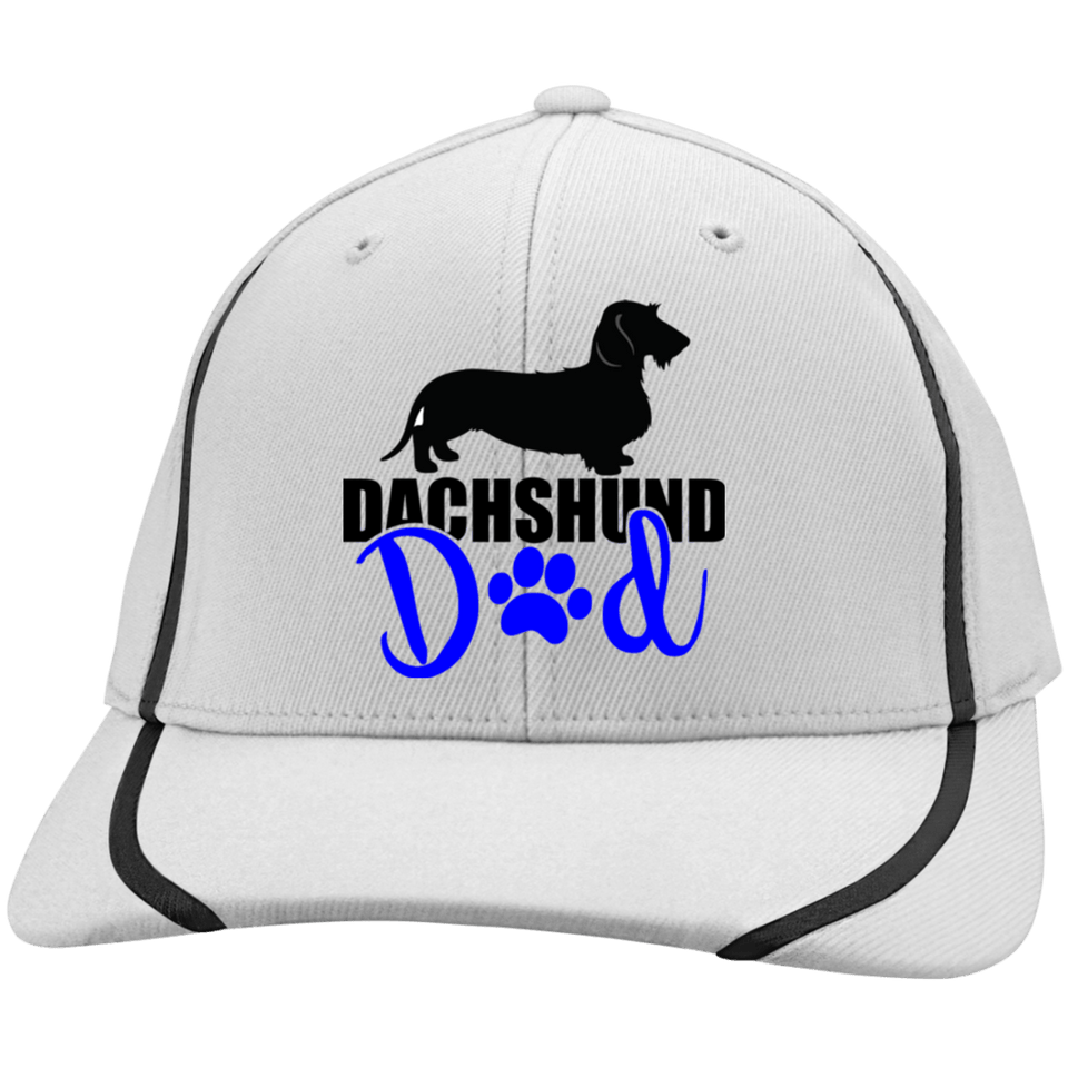 Dachshund Dad Wirehair (Blue) Embroidered Flexfit Colorblock Cap