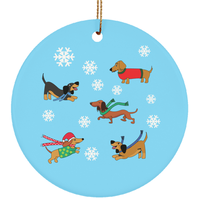 Dachshunds in Snowflakes Ceramic Circle Ornament