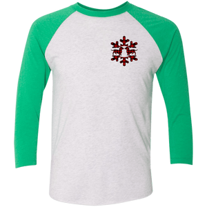 Plaid Snowflake Dachshunds Tri-Blend 3/4 Sleeve Baseball Raglan Jersey