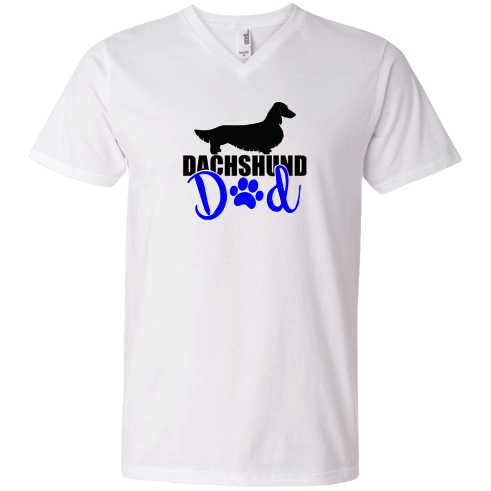 Dachshund Dad Longhair (Blue) Men's V-Neck T-Shirt