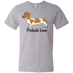 Piebald Love (Red) Men's 100% Ringspun Cotton V-Neck T-Shirt