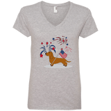 Patriotic Wirehair Red Ladies' V-Neck T-Shirt