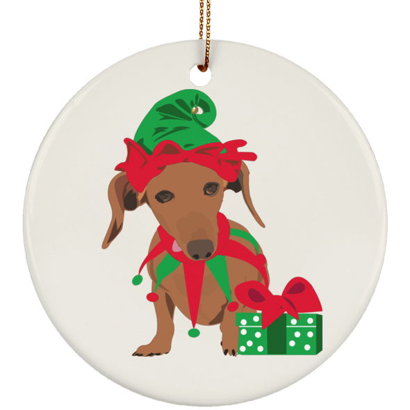 Doxie Elf Red Smooth Ceramic Circle Ornament