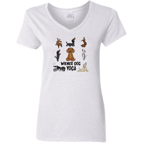 Wiener Dog Yoga Ladies' V-Neck T-Shirt