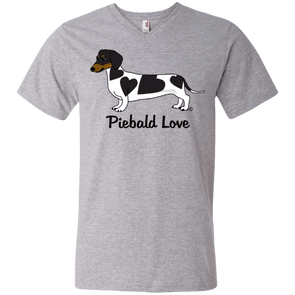 Piebald Love (Black) Men's 100% Ringspun Cotton V-Neck T-Shirt