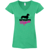 Dachshund Mom Wirehair (Pink) Ladies' Fitted Softstyle V-Neck T-Shirt