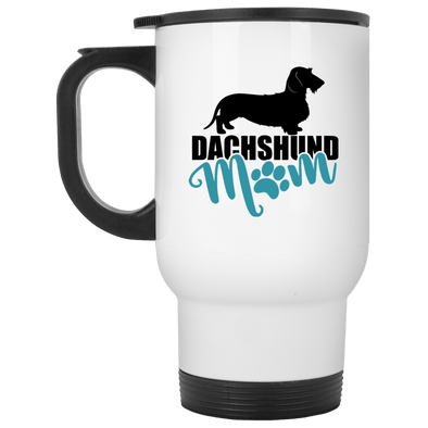 Dachshund Mom Wirehair (Teal) 14 oz. Stainless Steel Travel Mug