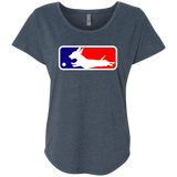 Baseball Dachshund Next Level Ladies' Triblend Dolman Sleeve