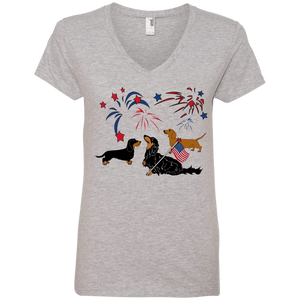 Patriotic Dachshunds Ladies' V-Neck Tee