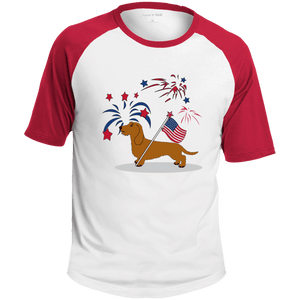 Patriotic Wirehair Red Colorblock Raglan Jersey