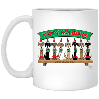 Wiener Dog Elf Shelf 11 oz. Ceramic Mug