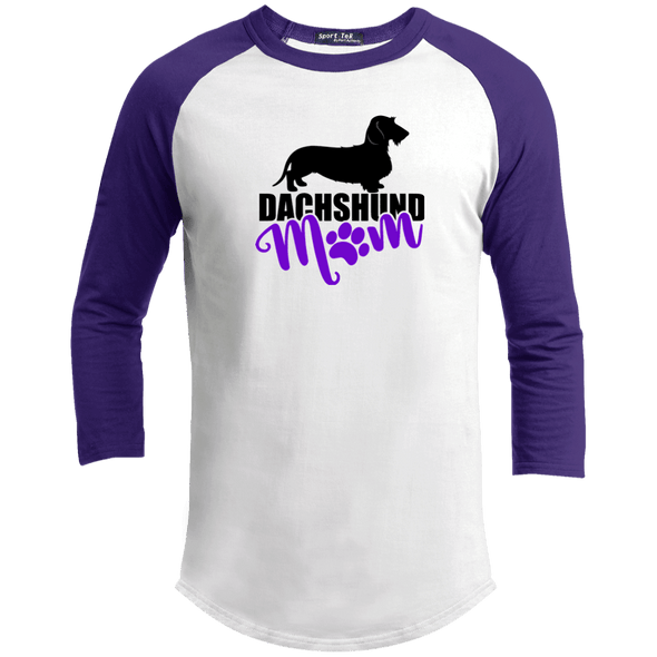 Dachshund Mom Wirehair (Purple) 100% Cotton Baseball Jersey